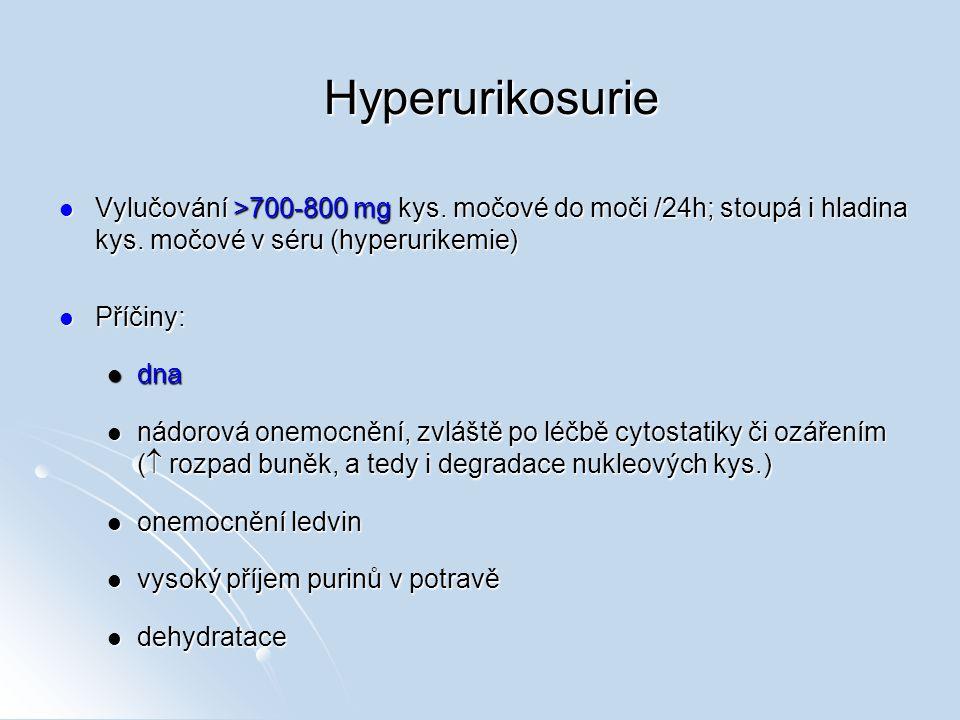 Hyperurikosurie Vylučování >700-800 mg kys. močové do moči /24h; stoupá i hladina kys. močové v séru (hyperurikemie) Vylučování >700-800 mg kys. močov
