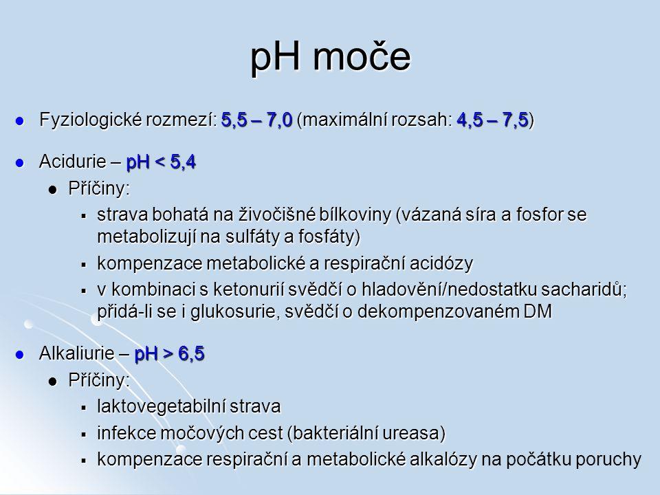 pH moče Fyziologické rozmezí: 5,5 – 7,0 (maximální rozsah: 4,5 – 7,5) Fyziologické rozmezí: 5,5 – 7,0 (maximální rozsah: 4,5 – 7,5) Acidurie – pH < 5,