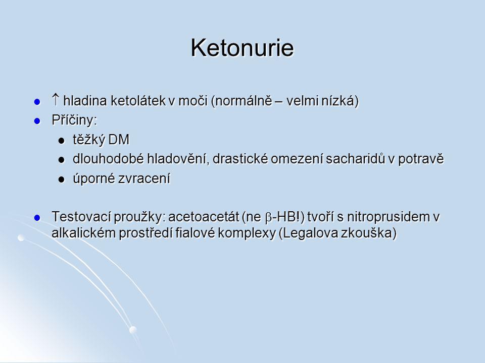 Glukosa v moči Fyziologické rozmezí: 0,1 – 1,4 mmol/l Fyziologické rozmezí: 0,1 – 1,4 mmol/l Testovací proužky: glukosa je oxidována glukosaoxidasou za vzniku H 2 O 2, který oxiduje bezbarvý chromogen na barevný komplex Testovací proužky: glukosa je oxidována glukosaoxidasou za vzniku H 2 O 2, který oxiduje bezbarvý chromogen na barevný komplex (Hyper)glukosurie – příčiny: (Hyper)glukosurie – příčiny: všechny stavy s hyperglykémií nad 10 mmol/l (DM, hepatopatie, akutní pankreatitida) všechny stavy s hyperglykémií nad 10 mmol/l (DM, hepatopatie, akutní pankreatitida) renální glykosurie renální glykosurie zvýšená resorpce ze střeva zvýšená resorpce ze střeva
