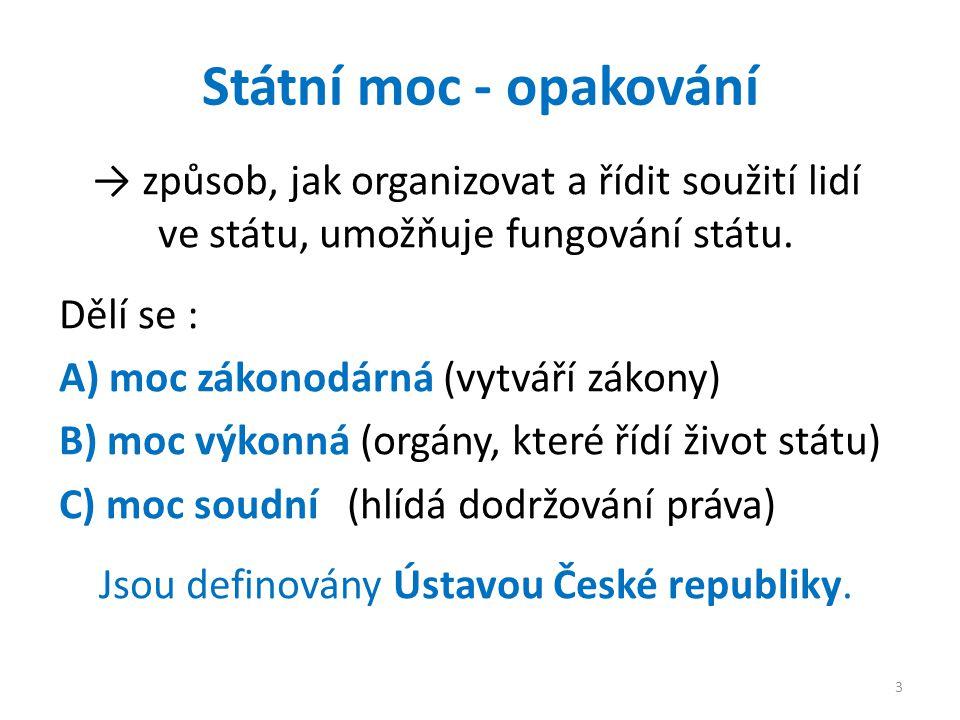 Státní moc - opakování → způsob, jak organizovat a řídit soužití lidí ve státu, umožňuje fungování státu. Dělí se : A) moc zákonodárná (vytváří zákony