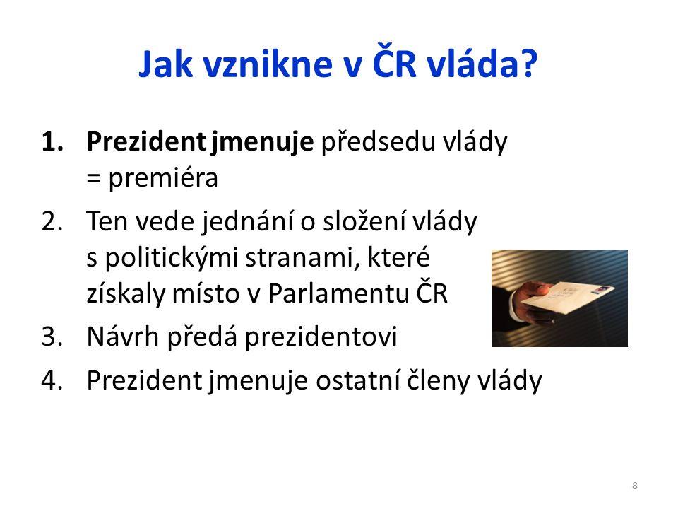 Jak vznikne v ČR vláda? 1.Prezident jmenuje předsedu vlády = premiéra 2.Ten vede jednání o složení vlády s politickými stranami, které získaly místo v