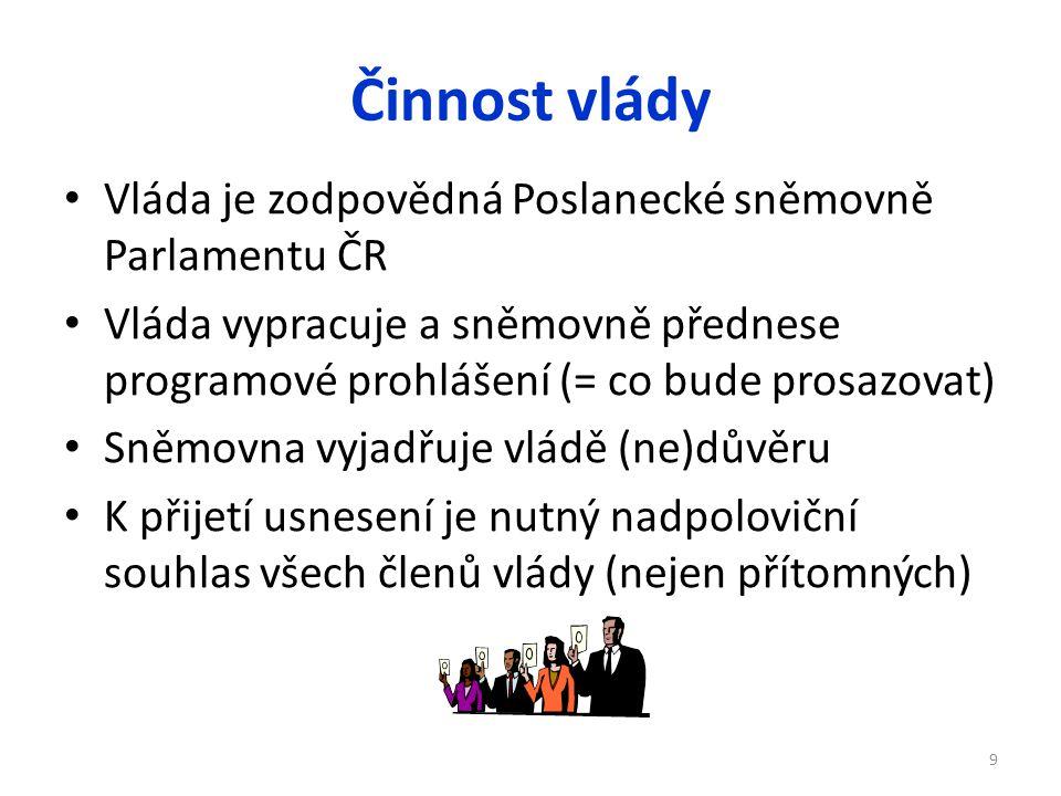 Činnost vlády Vláda je zodpovědná Poslanecké sněmovně Parlamentu ČR Vláda vypracuje a sněmovně přednese programové prohlášení (= co bude prosazovat) S