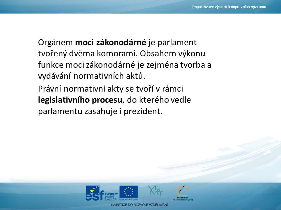 Popularizace výsledků dopravního výzkumu Orgánem moci zákonodárné je parlament tvořený dvěma komorami.