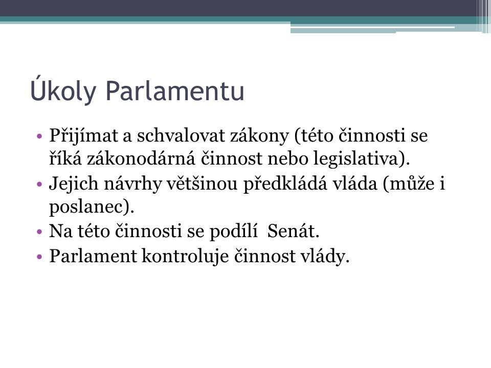 Úkoly Parlamentu Přijímat a schvalovat zákony (této činnosti se říká zákonodárná činnost nebo legislativa). Jejich návrhy většinou předkládá vláda (mů