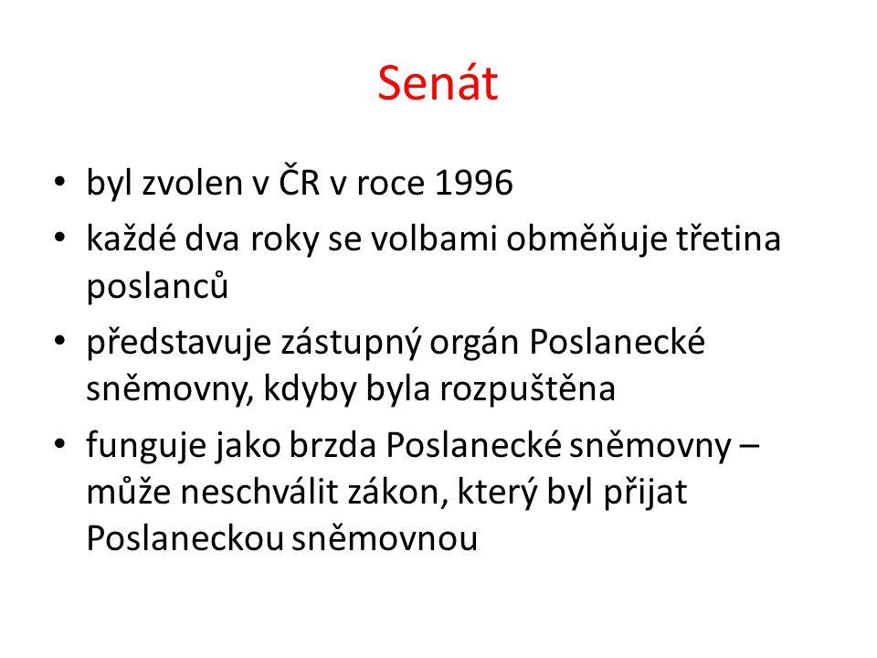 Senát byl zvolen v ČR v roce 1996 každé dva roky se volbami obměňuje třetina poslanců představuje zástupný orgán Poslanecké sněmovny, kdyby byla rozpuštěna funguje jako brzda Poslanecké sněmovny – může neschválit zákon, který byl přijat Poslaneckou sněmovnou