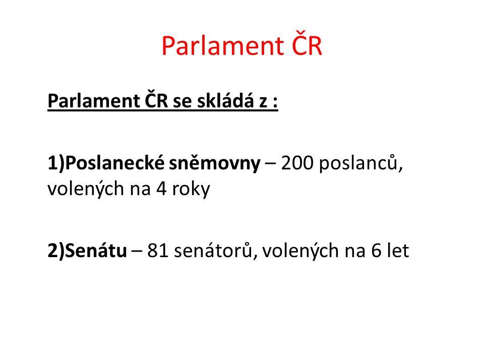 Poslanecká sněmovna jsou zde přijímány návrhy zákonů v čele stojí předseda Poslanecké sněmovny volí jej členové sněmovny a ti jej mohou také odvolat Kdo je nyní předsedou Poslanecké sněmovny?