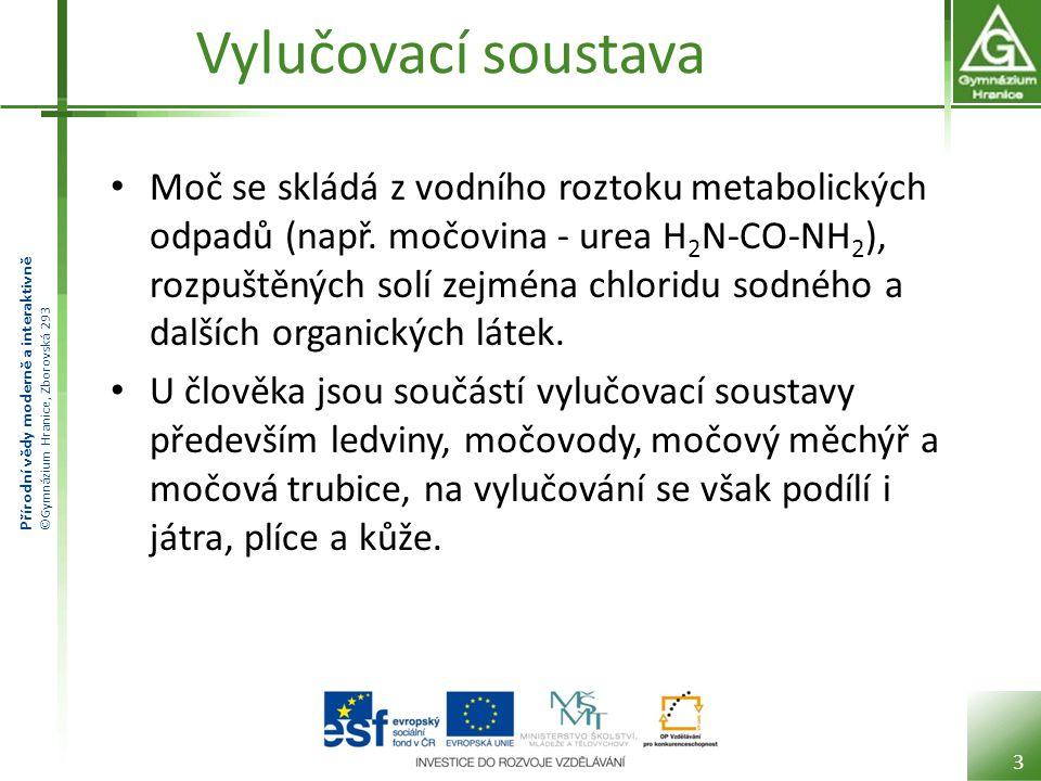 Přírodní vědy moderně a interaktivně ©Gymnázium Hranice, Zborovská 293 Vylučovací soustava Moč se skládá z vodního roztoku metabolických odpadů (např.