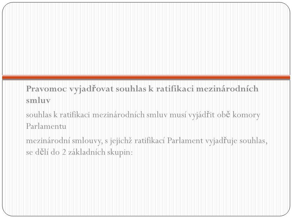 Pravomoc vyjad ř ovat souhlas k ratifikaci mezinárodních smluv souhlas k ratifikaci mezinárodních smluv musí vyjád ř it ob ě komory Parlamentu mezinár
