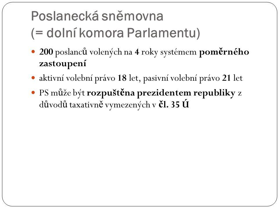Poslanecká sněmovna (= dolní komora Parlamentu) 200 poslanc ů volených na 4 roky systémem pom ě rného zastoupení aktivní volební právo 18 let, pasivní
