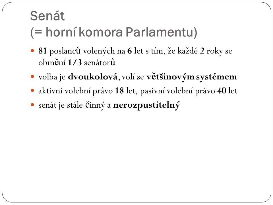 Senát (= horní komora Parlamentu) 81 poslanc ů volených na 6 let s tím, že každé 2 roky se obm ě ní 1/3 senátor ů volba je dvoukolová, volí se v ě tši
