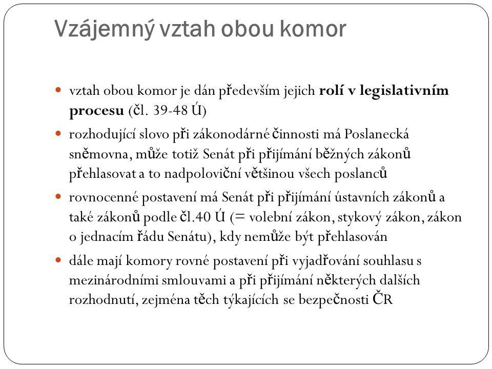 Vzájemný vztah obou komor vztah obou komor je dán p ř edevším jejich rolí v legislativním procesu ( č l. 39-48 Ú) rozhodující slovo p ř i zákonodárné