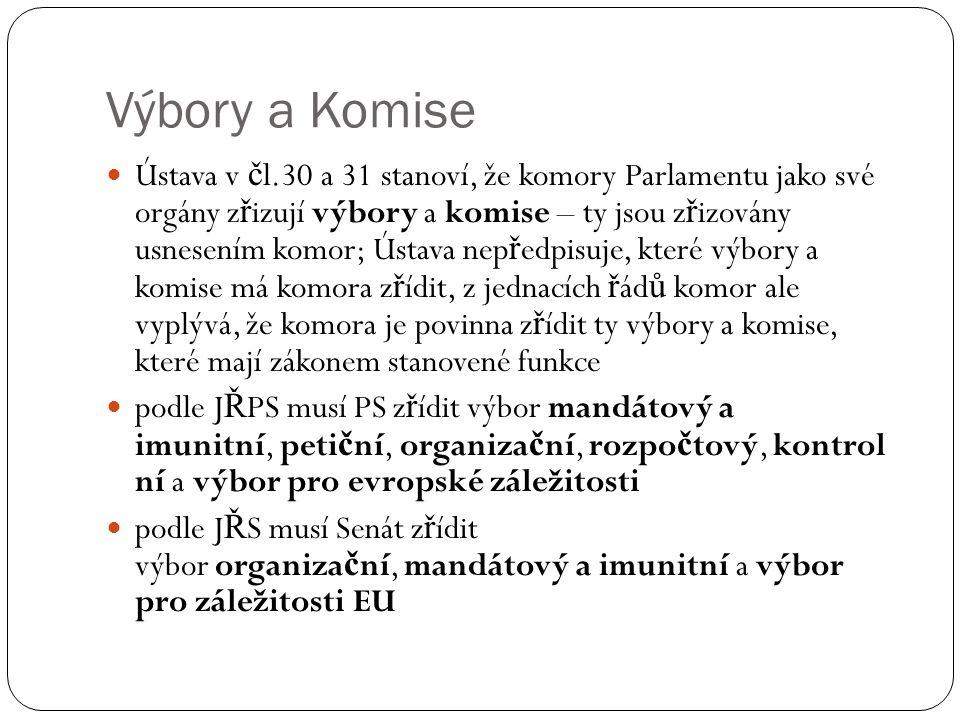 Výbory a Komise Ústava v č l.30 a 31 stanoví, že komory Parlamentu jako své orgány z ř izují výbory a komise – ty jsou z ř izovány usnesením komor; Ús