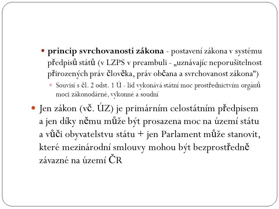 """princip svrchovanosti zákona - postavení zákona v systému p ř edpis ů stát ů (v LZPS v preambuli - """"uznávajíc neporušitelnost p ř irozených práv č lov"""