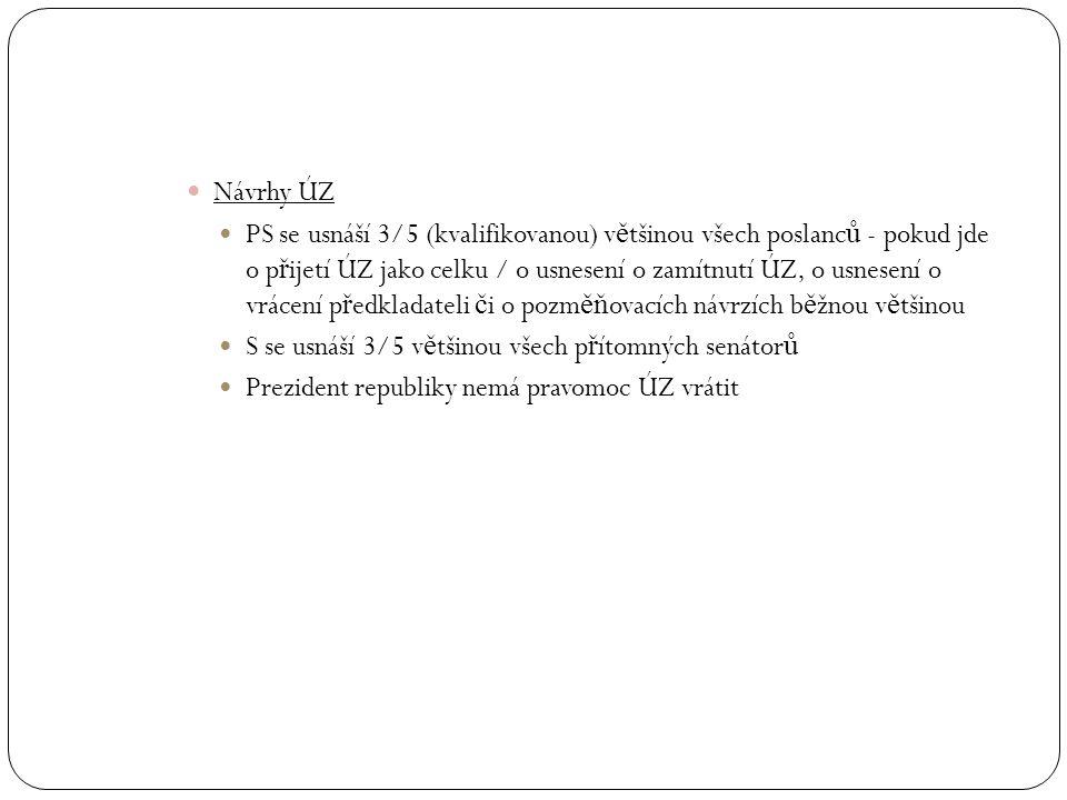 Návrhy ÚZ PS se usnáší 3/5 (kvalifikovanou) v ě tšinou všech poslanc ů - pokud jde o p ř ijetí ÚZ jako celku / o usnesení o zamítnutí ÚZ, o usnesení o