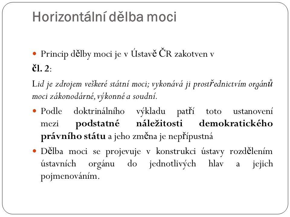 Horizontální dělba moci Princip d ě lby moci je v Ústav ě Č R zakotven v č l. 2: Lid je zdrojem veškeré státní moci; vykonává ji prost ř ednictvím org