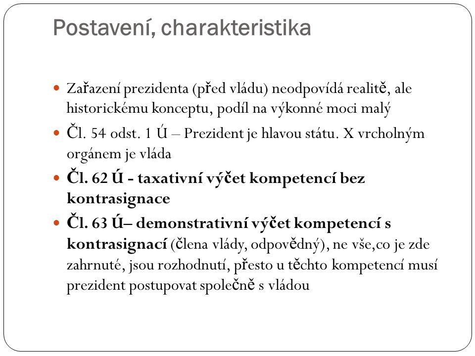 Postavení, charakteristika Za ř azení prezidenta (p ř ed vládu) neodpovídá realit ě, ale historickému konceptu, podíl na výkonné moci malý Č l. 54 ods