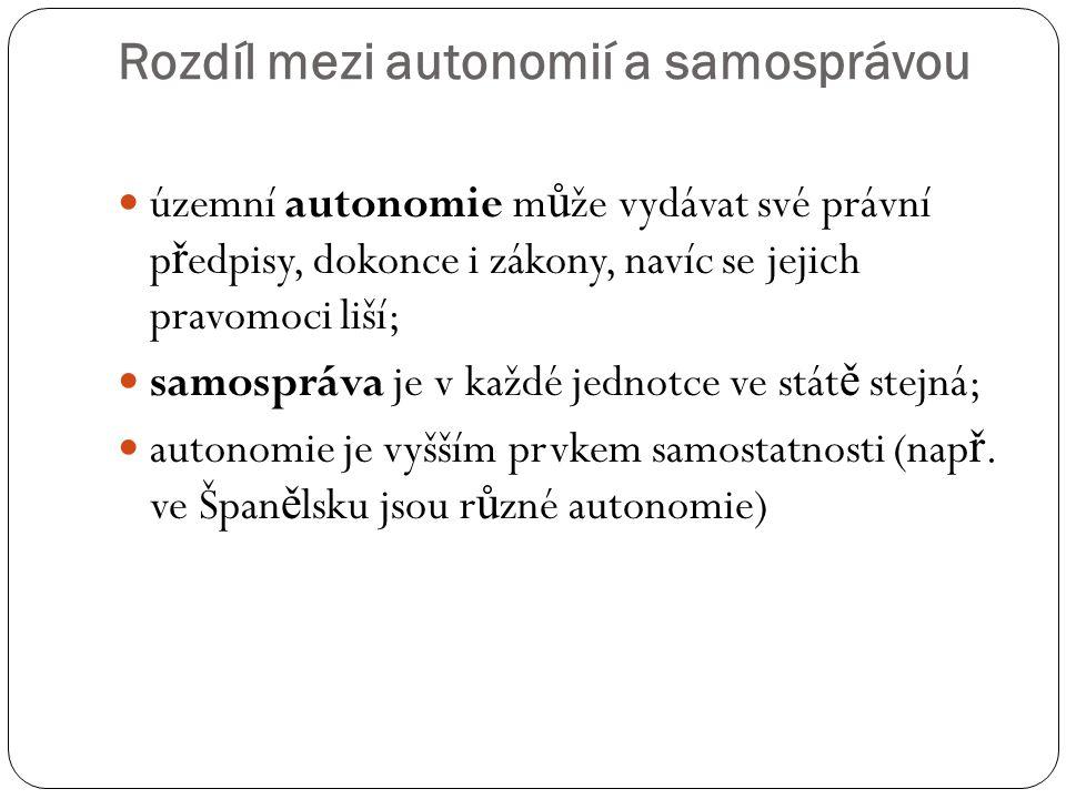 Rozdíl mezi autonomií a samosprávou územní autonomie m ů že vydávat své právní p ř edpisy, dokonce i zákony, navíc se jejich pravomoci liší; samospráv