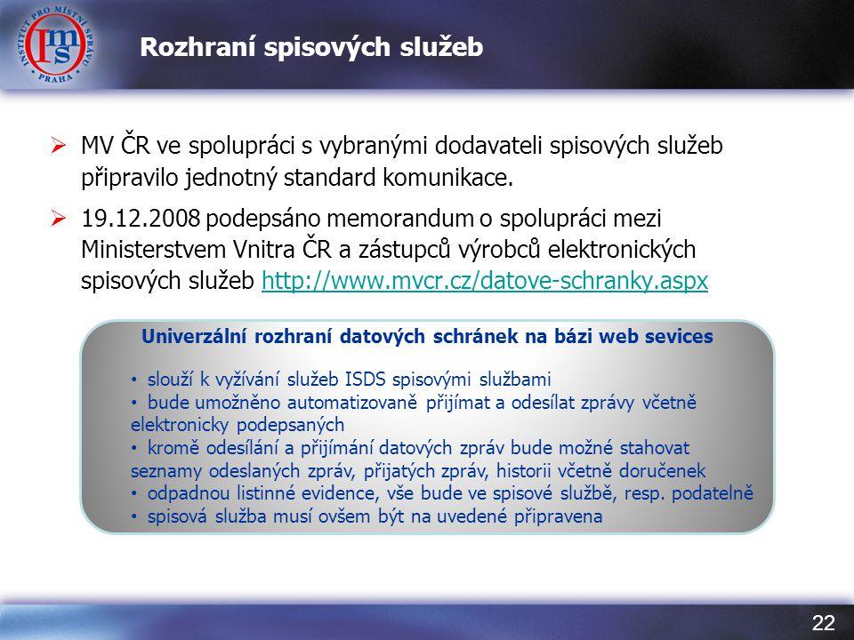 22 Rozhraní spisových služeb  MV ČR ve spolupráci s vybranými dodavateli spisových služeb připravilo jednotný standard komunikace.  19.12.2008 podep
