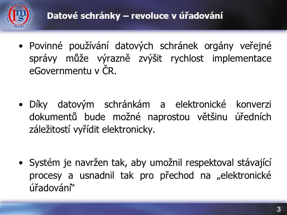 3 Datové schránky – revoluce v úřadování Povinné používání datových schránek orgány veřejné správy může výrazně zvýšit rychlost implementace eGovernme