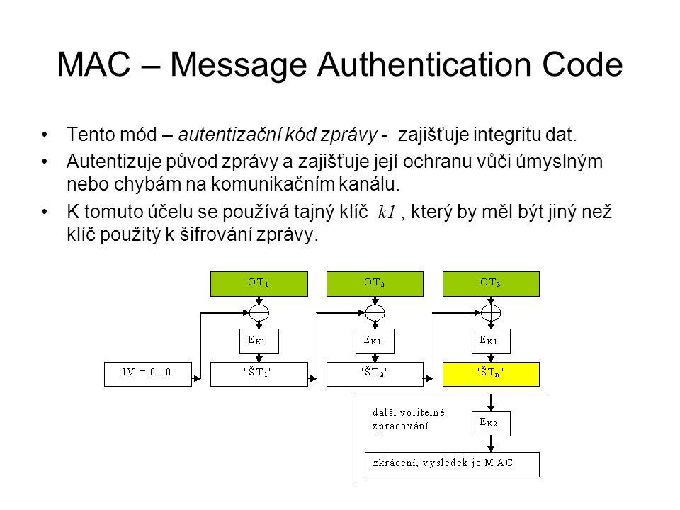 MAC – Message Authentication Code Tento mód – autentizační kód zprávy - zajišťuje integritu dat. Autentizuje původ zprávy a zajišťuje její ochranu vůč