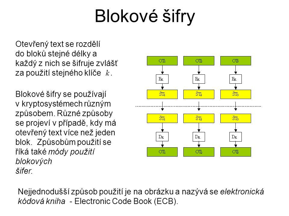 Blokové šifry Otevřený text se rozdělí do bloků stejné délky a každý z nich se šifruje zvlášť za použití stejného klíče k. Blokové šifry se používají