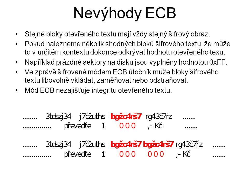 Nevýhody ECB Stejné bloky otevřeného textu mají vždy stejný šifrový obraz. Pokud nalezneme několik shodných bloků šifrového textu, že může to v určité