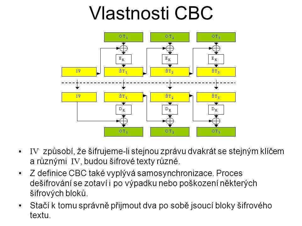 Vlastnosti CBC IV způsobí, že šifrujeme-li stejnou zprávu dvakrát se stejným klíčem a různými IV, budou šifrové texty různé. Z definice CBC také vyplý
