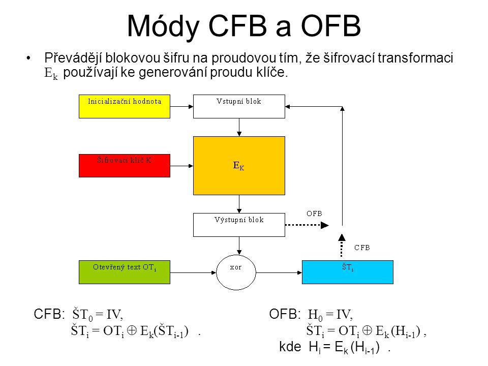 Módy CFB a OFB Převádějí blokovou šifru na proudovou tím, že šifrovací transformaci E k používají ke generování proudu klíče. CFB: ŠT 0 = IV, ŠT i = O