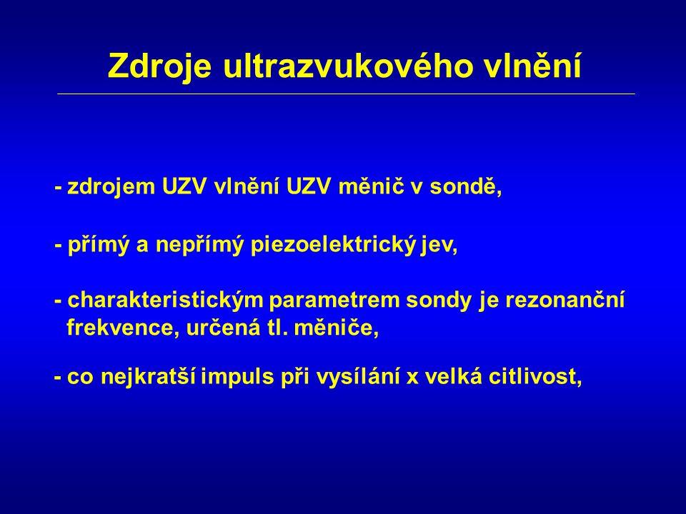 Zdroje ultrazvukového vlnění - zdrojem UZV vlnění UZV měnič v sondě, - přímý a nepřímý piezoelektrický jev, - charakteristickým parametrem sondy je re