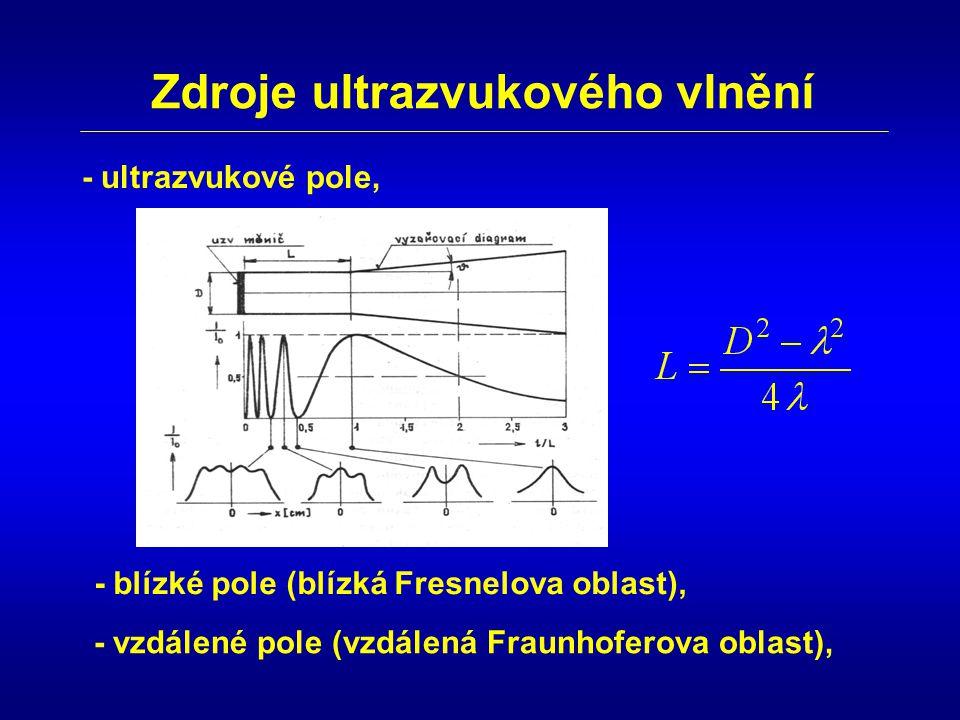 Zdroje ultrazvukového vlnění - ultrazvukové pole, - blízké pole (blízká Fresnelova oblast), - vzdálené pole (vzdálená Fraunhoferova oblast),