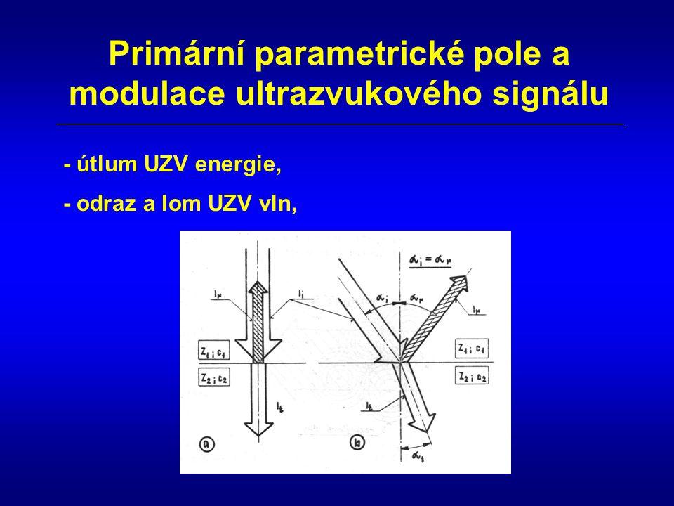 Primární parametrické pole a modulace ultrazvukového signálu - odraz a lom UZV vln, - útlum UZV energie,