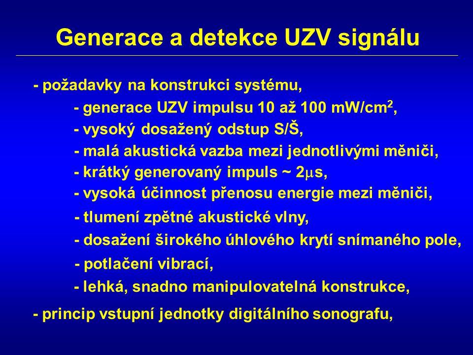 Generace a detekce UZV signálu - generace UZV impulsu 10 až 100 mW/cm 2, - vysoký dosažený odstup S/Š, - malá akustická vazba mezi jednotlivými měniči