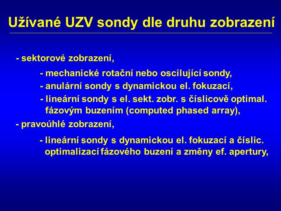 Užívané UZV sondy dle druhu zobrazení - mechanické rotační nebo oscilující sondy, - anulární sondy s dynamickou el. fokuzací, - lineární sondy s el. s