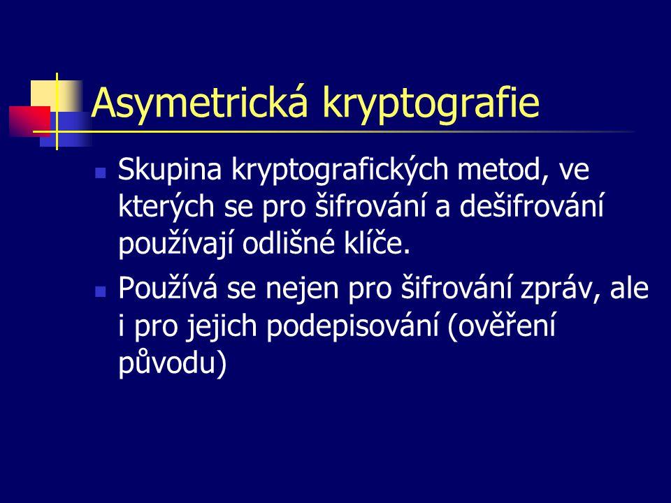Základní principy Šifrovací klíč sestává ze dvou částí Veřejný klíč – používá se pro zašifrování zprávy, je veřejně dostupný Soukromý klíč – používá se pro dešifrování zprávy, je vlastníkem pečlivě uschován.