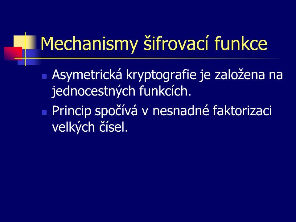 Mechanismy šifrovací funkce Asymetrická kryptografie je založena na jednocestných funkcích. Princip spočívá v nesnadné faktorizaci velkých čísel.