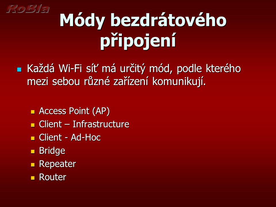 Módy bezdrátového připojení Módy bezdrátového připojení Každá Wi-Fi síť má určitý mód, podle kterého mezi sebou různé zařízení komunikují.