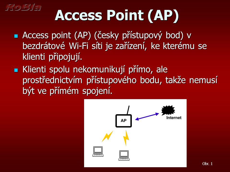 Access Point (AP) Access Point (AP) Access point (AP) (česky přístupový bod) v bezdrátové Wi-Fi síti je zařízení, ke kterému se klienti připojují.
