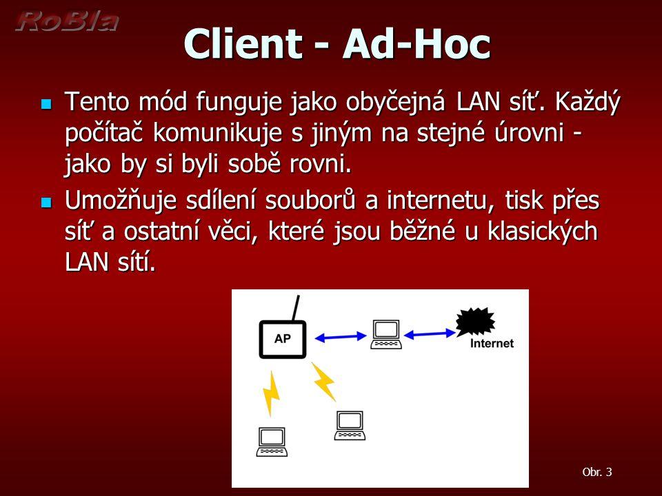 Client - Ad-Hoc Client - Ad-Hoc Tento mód funguje jako obyčejná LAN síť.