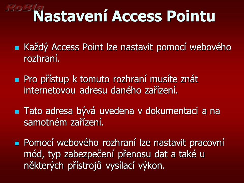 Vysílací výkon Access Pointu Vysílací výkon Access Pointu Vysílací výkon nastavujte co nejmenší (při dodržení stabilního připojení), aby nedocházelo ke zbytečnému šíření signálu mimo používaný prostor a tím k interferencím u dalších vysílačů.