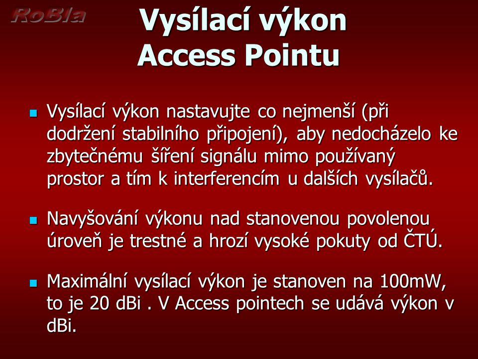 Vysílací výkon Vysílací výkon Celkový vysílací výkon je součtem vysílacího výkonu Access Pointu a zisku antény.