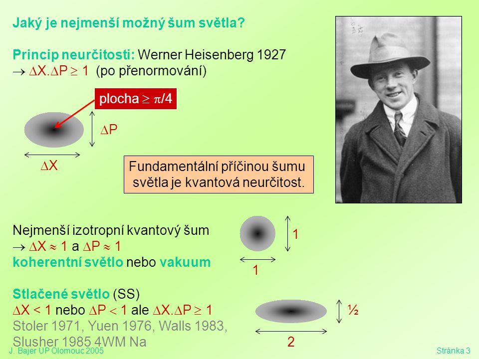 J. Bajer UP Olomouc 2005Stránka 3 Jaký je nejmenší možný šum světla? Princip neurčitosti: Werner Heisenberg 1927  X.  P  1  (po přenormování) N