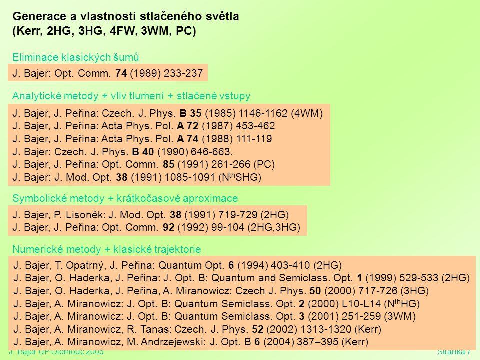 J. Bajer UP Olomouc 2005Stránka 7 Generace a vlastnosti stlačeného světla (Kerr, 2HG, 3HG, 4FW, 3WM, PC) Eliminace klasických šumů J. Bajer: Opt. Comm