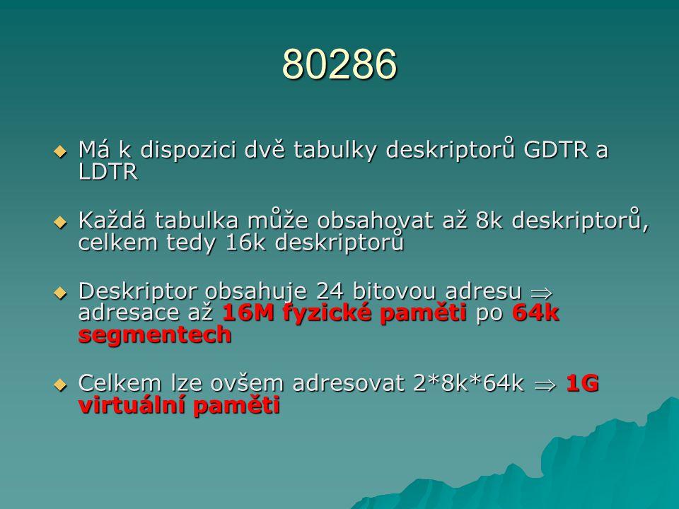 80286  Má k dispozici dvě tabulky deskriptorů GDTR a LDTR  Každá tabulka může obsahovat až 8k deskriptorů, celkem tedy 16k deskriptorů  Deskriptor obsahuje 24 bitovou adresu  adresace až 16M fyzické paměti po 64k segmentech  Celkem lze ovšem adresovat 2*8k*64k  1G virtuální paměti