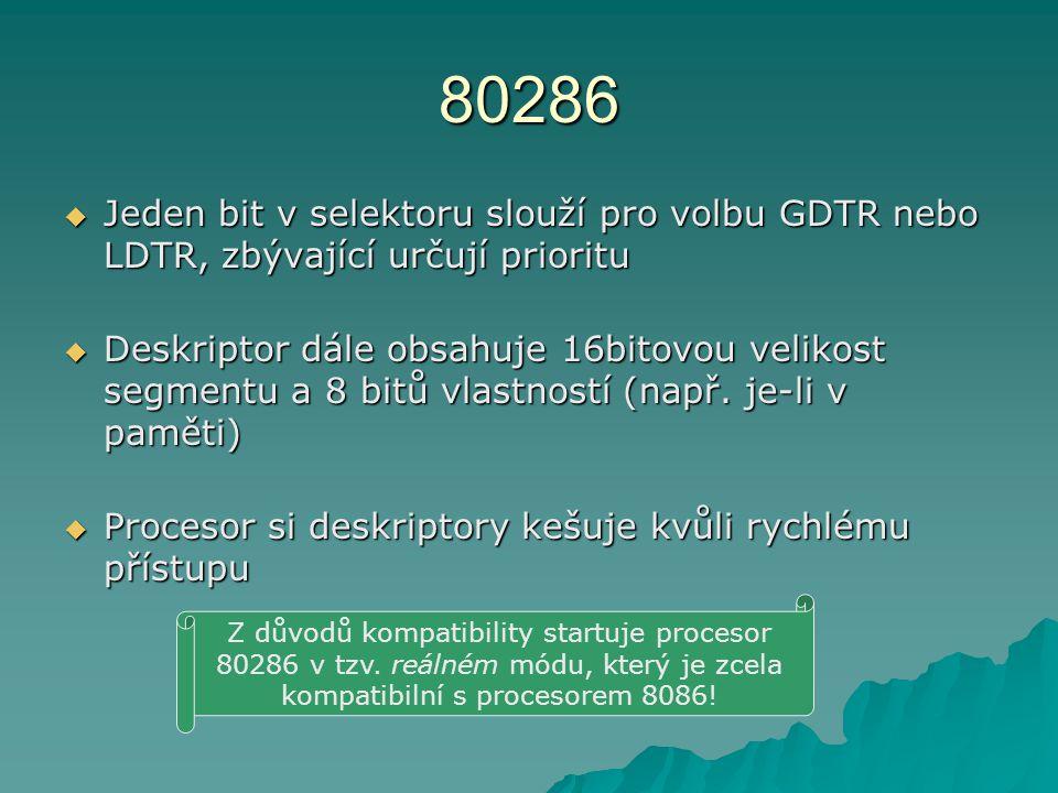 80286  Jeden bit v selektoru slouží pro volbu GDTR nebo LDTR, zbývající určují prioritu  Deskriptor dále obsahuje 16bitovou velikost segmentu a 8 bitů vlastností (např.
