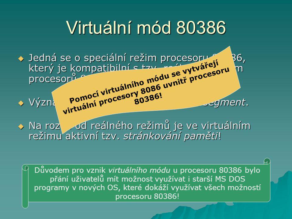 Virtuální mód 80386  Jedná se o speciální režim procesoru 80386, který je kompatibilní s tzv.