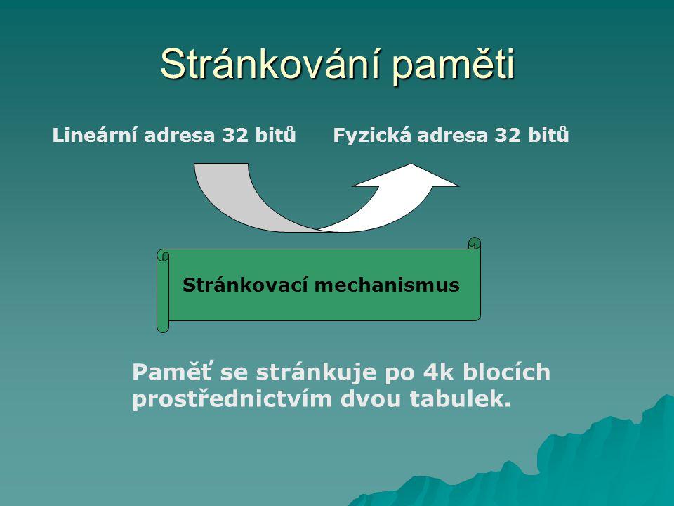 Stránkování paměti Lineární adresa 32 bitůFyzická adresa 32 bitů Stránkovací mechanismus Paměť se stránkuje po 4k blocích prostřednictvím dvou tabulek.