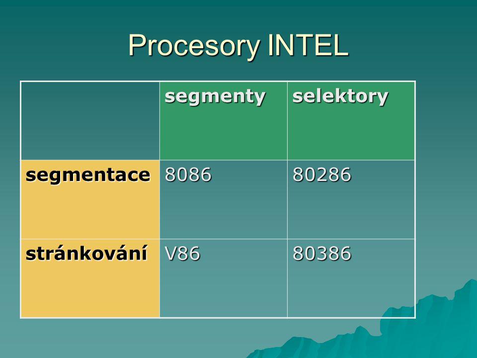 Procesory INTEL segmentyselektory segmentace808680286 stránkováníV8680386