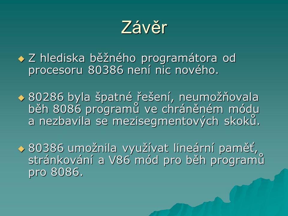 Závěr  Z hlediska běžného programátora od procesoru 80386 není nic nového.