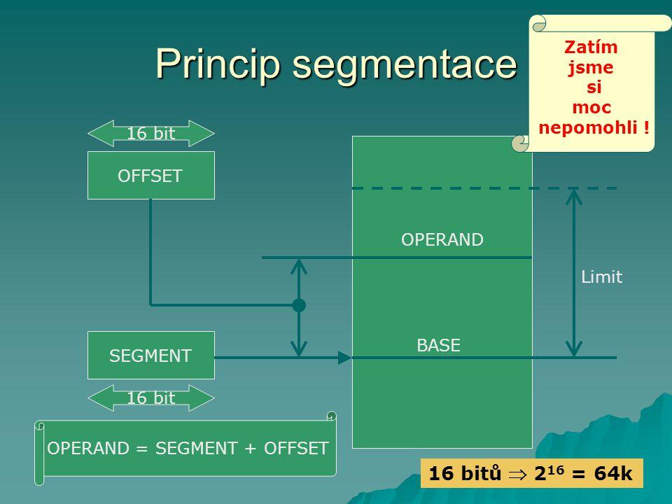 Princip segmentace OFFSET SEGMENT Limit BASE OPERAND OPERAND = SEGMENT + OFFSET 16 bit Zatím jsme si moc nepomohli .