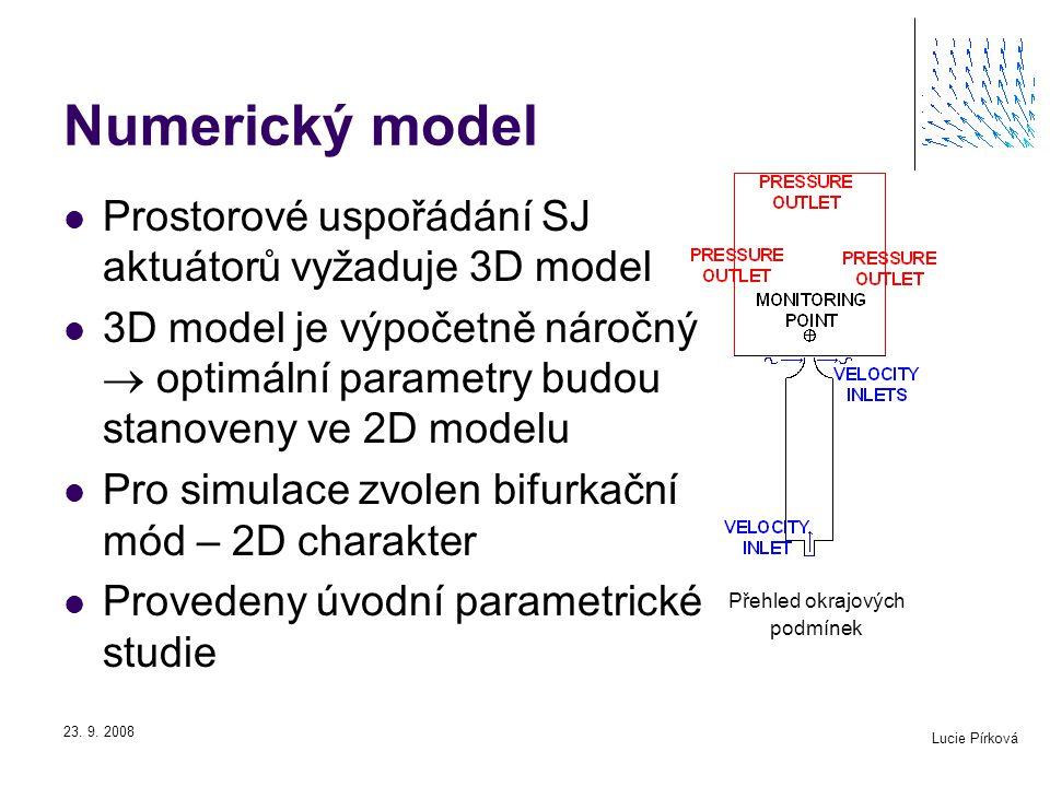 Lucie Pírková 23. 9. 2008 Přehled okrajových podmínek Numerický model Prostorové uspořádání SJ aktuátorů vyžaduje 3D model 3D model je výpočetně nároč